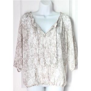 Express Cream White Floral 3/4 Sleeve Sheer Blouse